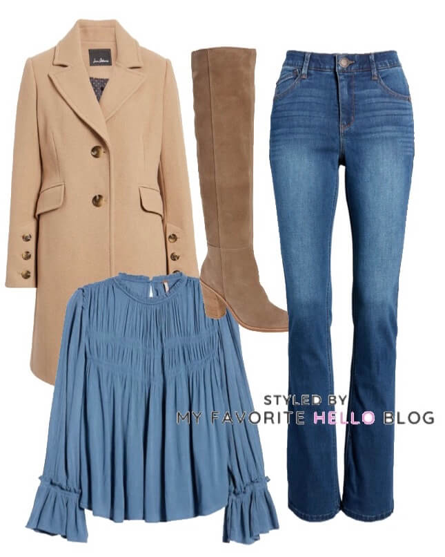 denim jeans with camel coat and suede boots and boho top