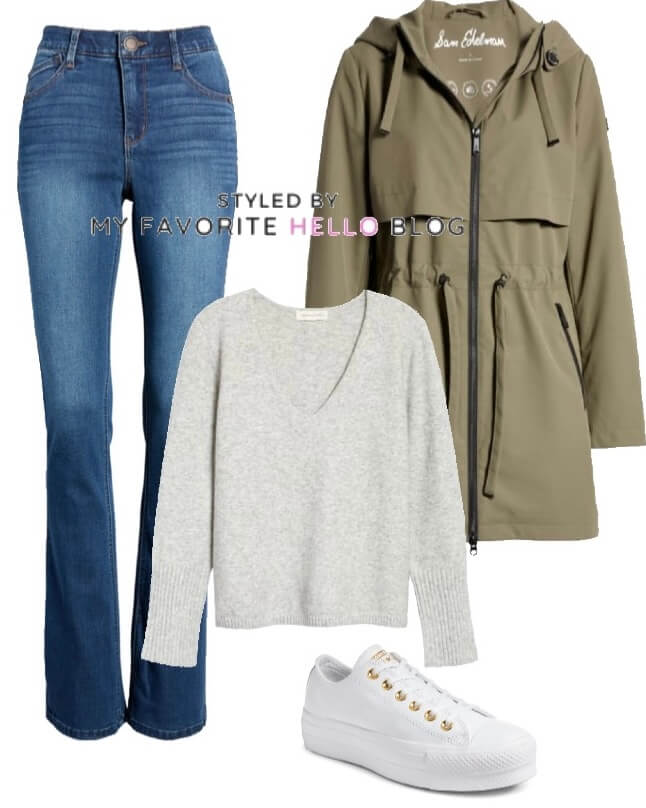 denim jeans with olive jacket and white sneakers