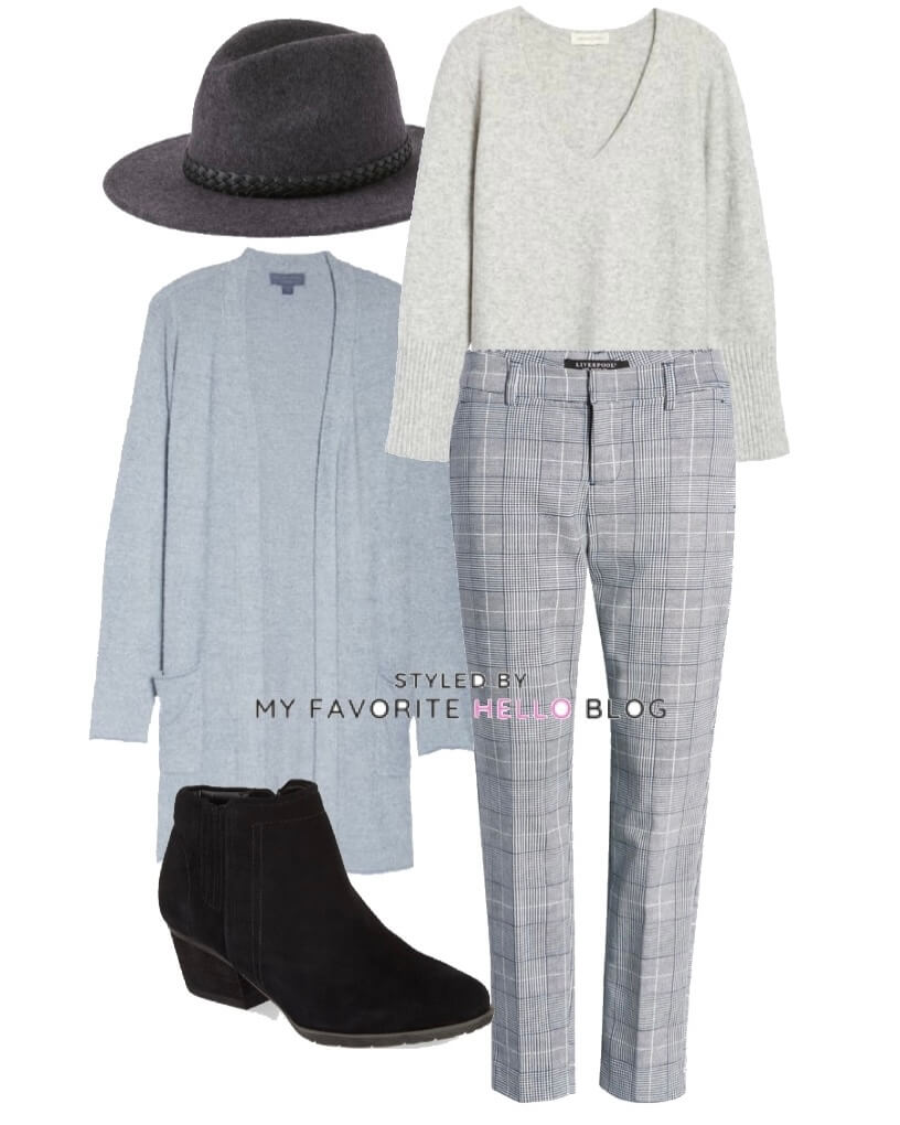 plaid pants with blue cardigan and grey sweater