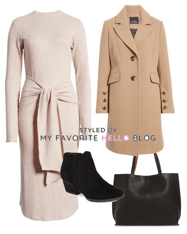sweater dress and camel coat with black booties