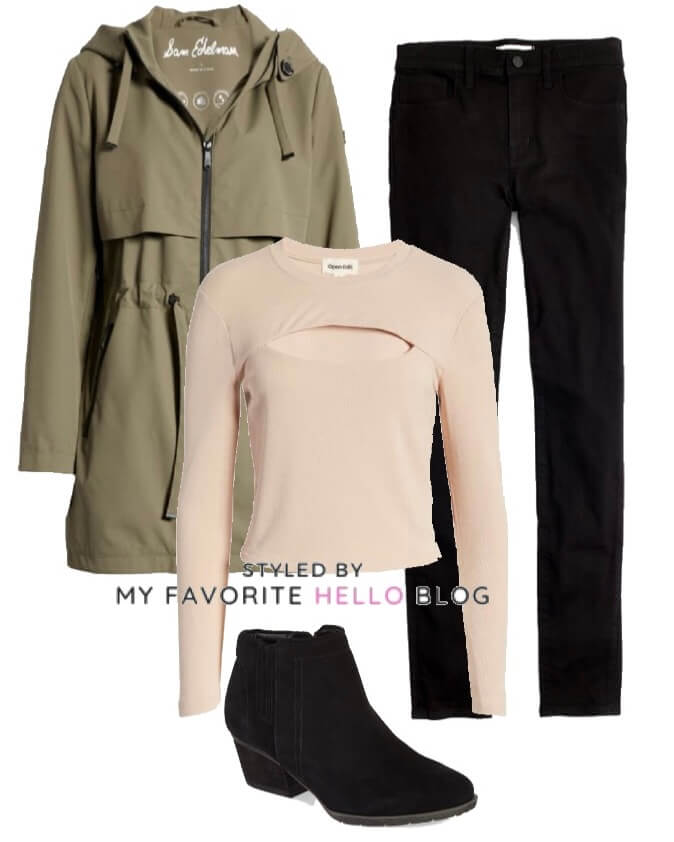 winter outfit with black jeans and olive jacket with black boots