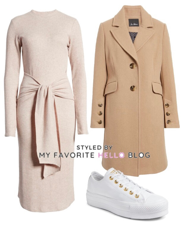 winter outfit with sweater dress camel coat and white sneakers