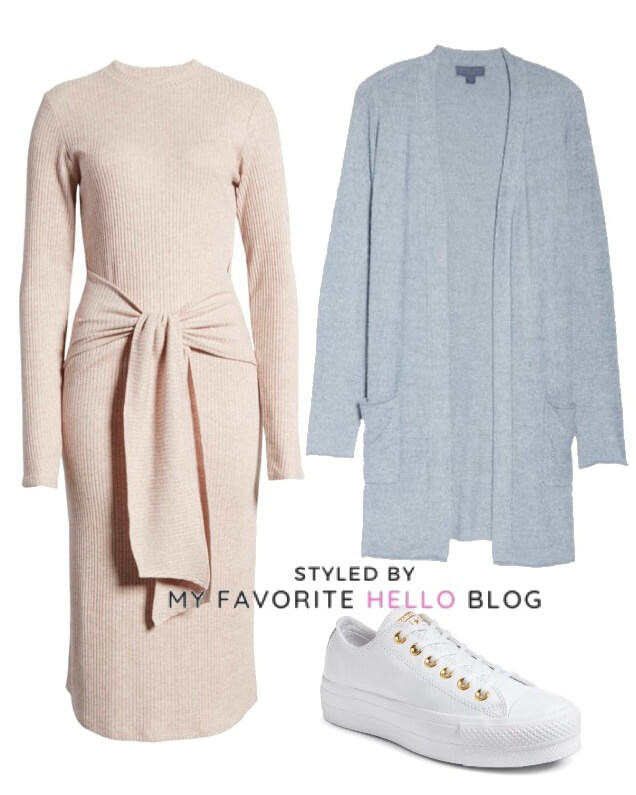 winter sweater dress and cardigan with white sneakers